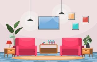 planta de interior tropical planta decorativa verde en la ilustración de la sala de estar
