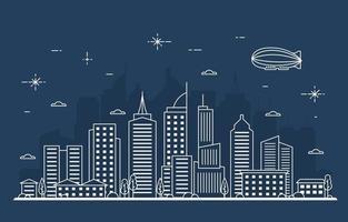 noche ciudad urbana edificio paisaje urbano paisaje línea ilustración vector