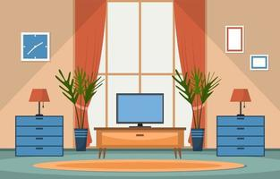 Tropical Houseplant Green Decorative Plant Window House Illustration vector