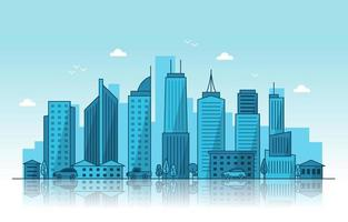 City Skyline with Reflection Illustration vector