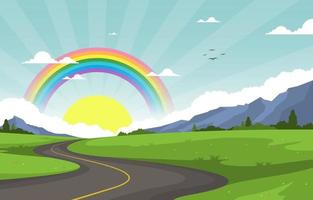 Winding Road Rainbow Nature Landscape Scenery Illustration vector