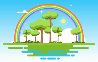 hermoso paisaje flotante arco iris verano naturaleza ilustración vector