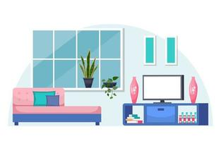 Tropical Houseplant Green Decorative Plant in Living Room Illustration vector