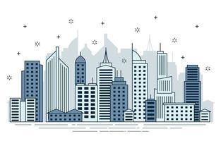 Day Urban City Building Cityscape Landscape Line Illustration vector