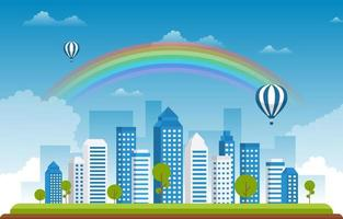Beautiful Rainbow City Summer Cityscape Landscape Illustration vector