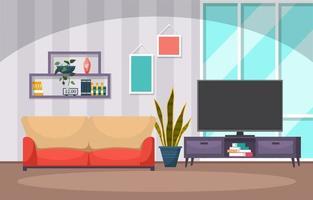 planta de interior tropical planta decorativa verde en la ilustración de la sala de estar vector