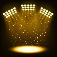 Gold bright stadium spotlights on dark background Vector Illustration