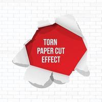 efecto de corte de papel rasgado. aislado con pared de ladrillo blanco vector