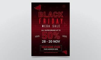 Black Friday Mega Sale Poster Design vector