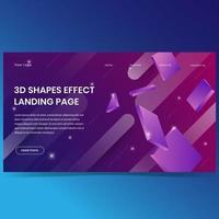 3D effect shapes landing page background design vector