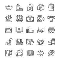 conjunto de iconos de cuarentena con estilo de arte lineal. vector