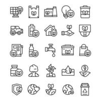 Set of Eco Green icons with line art style vector