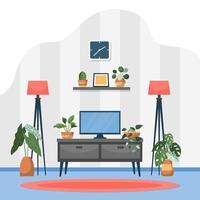 Tropical Houseplant Green Decorative Plant Interior House Illustration vector