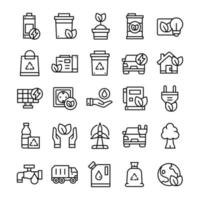 Set of Environment icons with line art style. vector