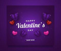 Valentine's day sale banner or poster with 3d colorful hearts spread on purple background for advertisement or promotion