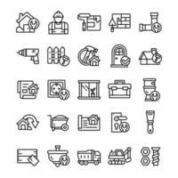 Set of Home Renovation icons with line art style vector