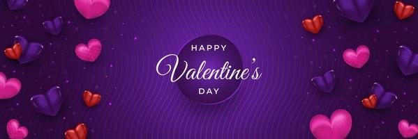 Happy Valentine's day banner or poster for header with realistic colorful hearts spread on purple background vector