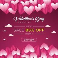 Social Media Banner Template Valentine's Day vector