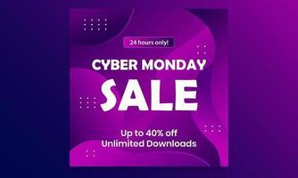 social media cyber monday sale background design vector