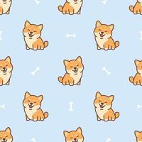 Cute dibujos animados de perro shiba inu de patrones sin fisuras, ilustración vectorial vector