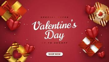 Valentine's day sale banner with realistic gift boxes and 3d hearts on red gradient background. Horizontal poster, greeting card, banner for website. Promotion and shopping template for Valentines day