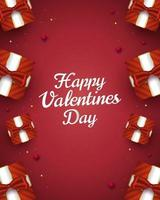 Happy Valentine's Day greeting card with 3d gift boxes and hearts spread on red background. Romantic background with 3d decorative objects. Vector illustration
