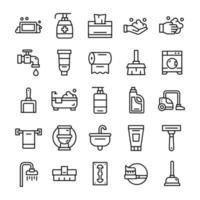 conjunto de iconos de higiene con estilo de arte lineal. vector