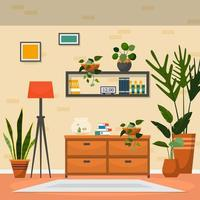 Tropical Houseplant Green Decorative Plant Interior House Illustration vector