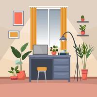 planta de interior tropical planta decorativa verde en la ilustración de espacio de trabajo de oficina vector