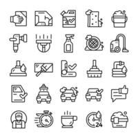 conjunto de iconos de lavado de autos con estilo de arte lineal. vector