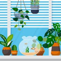 Tropical Houseplant Green Decorative Plant Window House Illustration vector