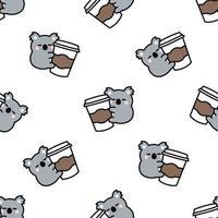Cute koala loves coffee cartoon, vector illustration