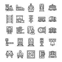 conjunto de iconos de ferrocarril con estilo de arte lineal. vector