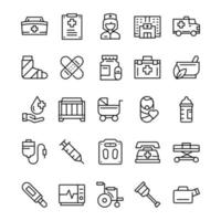 conjunto de iconos de enfermera con estilo de arte de línea. vector