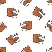 lindo oso ama el café de dibujos animados de patrones sin fisuras, ilustración vectorial