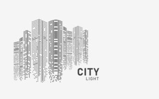 Ilustración de vector de horizonte de la ciudad paisaje urbano creado por la posición de ventanas negras sobre fondo blanco