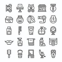 Set of Barbershop icons with line art style vector