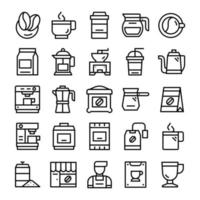 Set of Coffee icons with line art style. vector