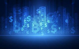 Financial technology concept. FinTech. Foreign exchange. vector