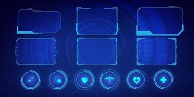 GUI, HUD, UI hi-tech frame screens and small callouts for icons health care pattern medical innovation concept background design. vector