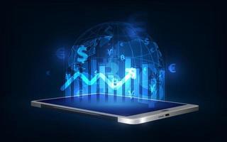 concepto de crecimiento, progreso o éxito empresarial. mostrando un creciente stock de hologramas virtuales en el fondo de la tableta. vector