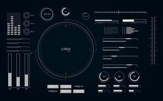 Futuristic user interface with HUD and infographic elements. Looped motion virtual technology background. vector