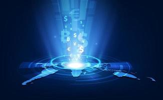 Currency exchange technology Blue abstract speed network vector