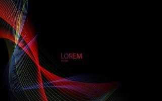 líneas de onda abstractas rayas de color de estilo arco iris fluido sobre fondo negro. vector
