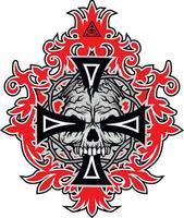 Signo gótico con calavera y cruz, camisetas de diseño vintage grunge vector