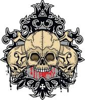 Gothic sign with skull, grunge vintage design t shirts vector