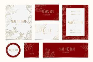minimal simple floral botanical wedding invitation card collection vector
