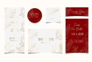 simple floral botanical wedding invitation card vector