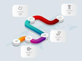 abstract isometric  timeline infographics 4 steps with world map for business and presentation vector