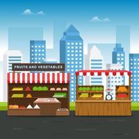 tienda de verduras de frutas en la carretera puesto de comestibles en la ilustración de la ciudad vector